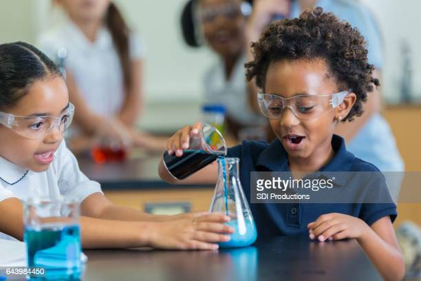 Excited girls participate in science experiment in class