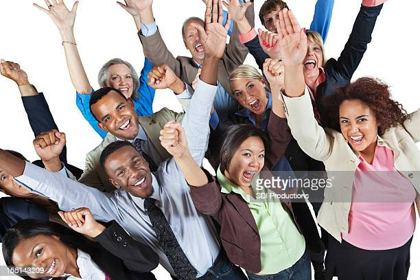 Excited group of business people with hands in the air