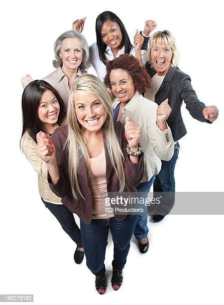 Excited group of happy professional women with fists up