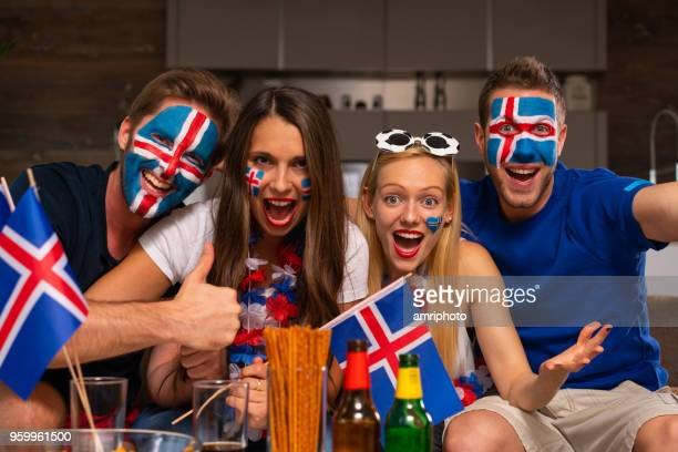 excited iceland soccer fans