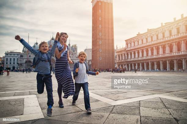 Excited kids visiting Venice, Italy