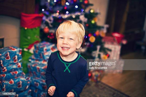 Excited little boy on Christmas day