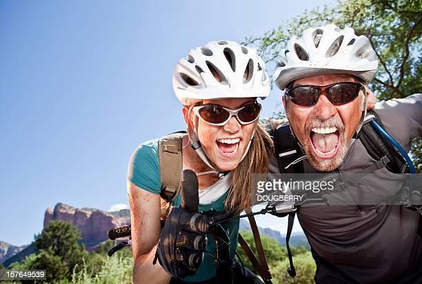 Aufgeregt Mountainbiker