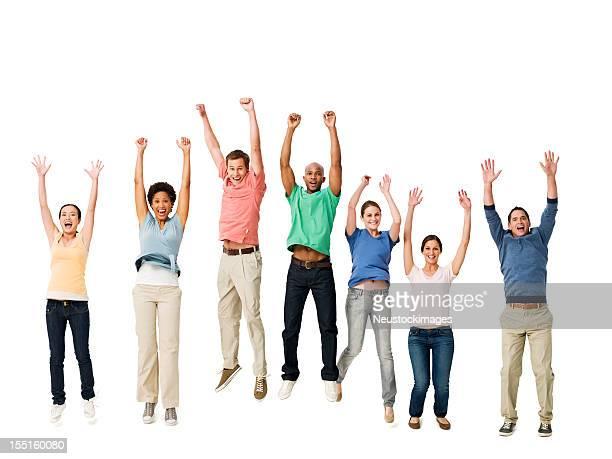 Aufgeregt Menschen springen in der Luft-isoliert