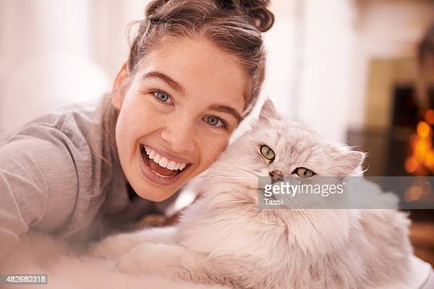 excited selfies with her feline friend - puss pics stock photos and pictures
