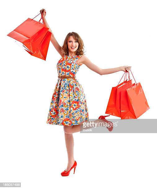 excited shopping woman - multi colored dress stock pictures, royalty-free photos & images