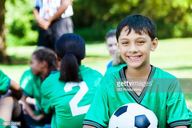 Excited soccer player before game