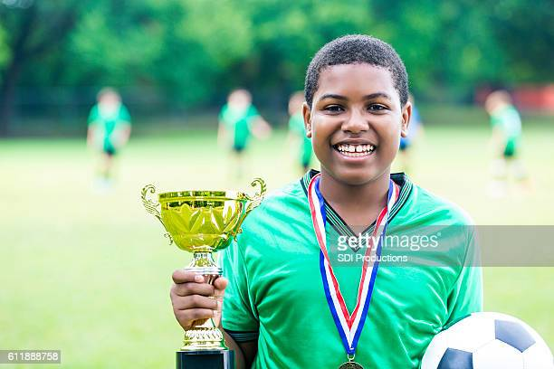 Excited soccer tournament champion