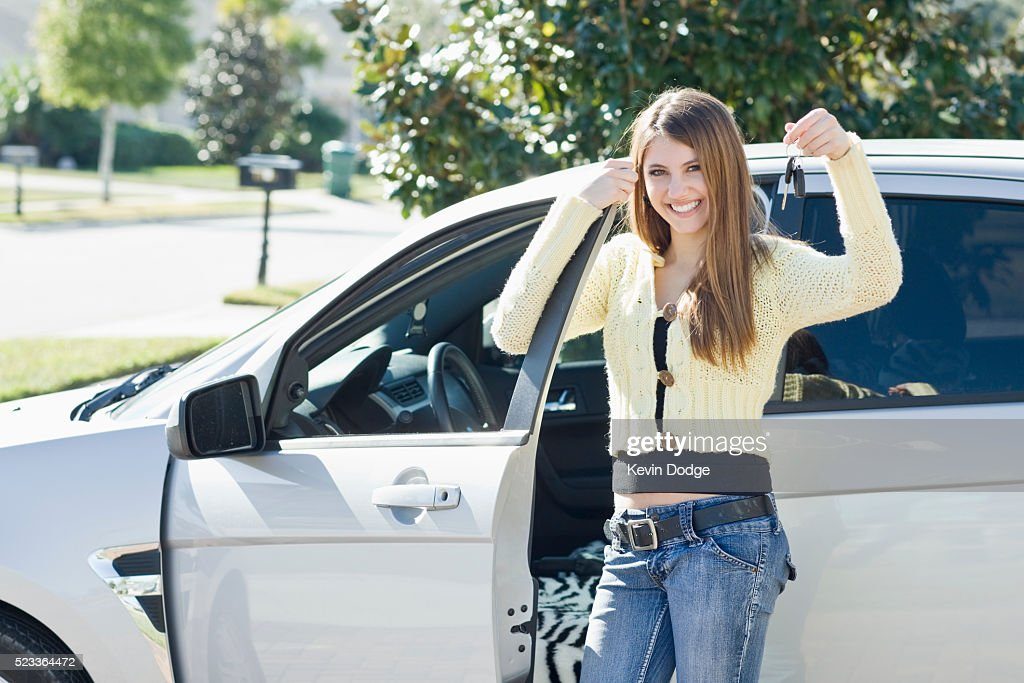 Excited teenage driver : Stock Photo