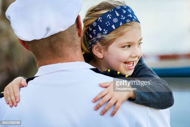 excited to have her daddy back home - navy stock pictures, royalty-free photos & images