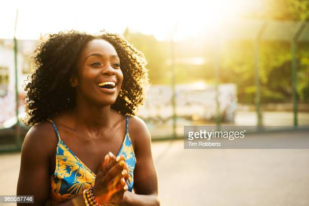 excited woman at sunset. - surprise stock pictures, royalty-free photos & images