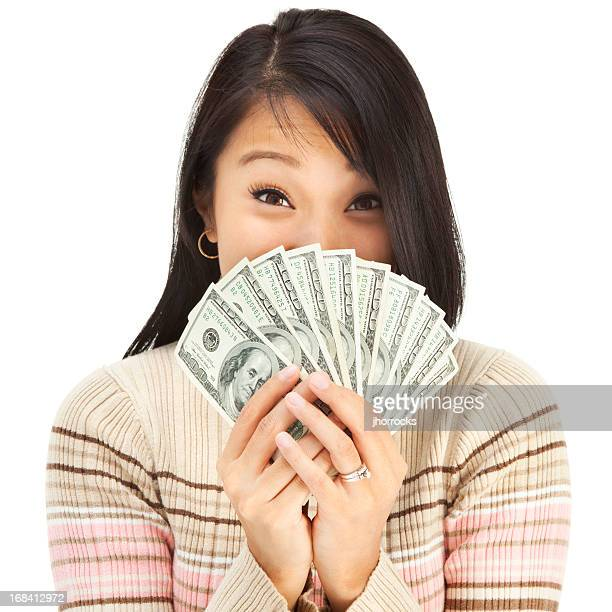 Excited Young Asian Woman Holding Cash Money