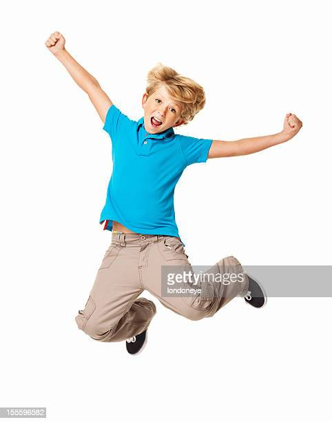 excited young boy - isolated - jumping stock pictures, royalty-free photos & images