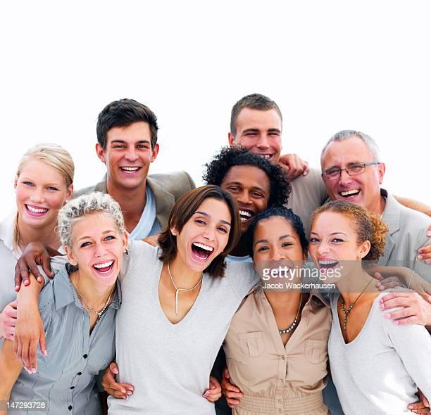 Une los jóvenes empresarios contra fondo blanco