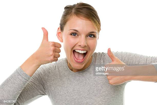 Excited Young Woman Gives Two Thumbs Up