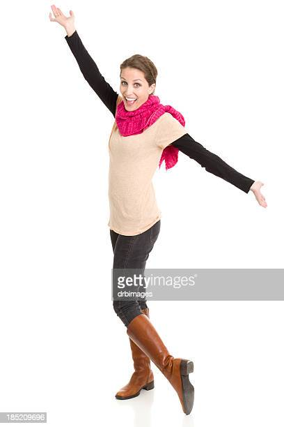 Excited Young Woman With Arms Out