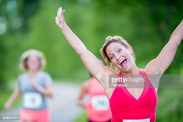 Excitedly Finishing a Race