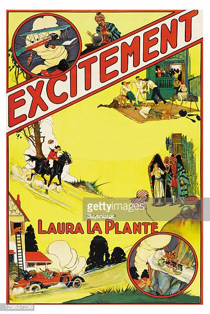 Exciting sport like activities planes boxing gymnastics horseback riding on a poster that advertises the movie 'Excitement' 1924