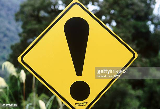 Exclamation point road sign