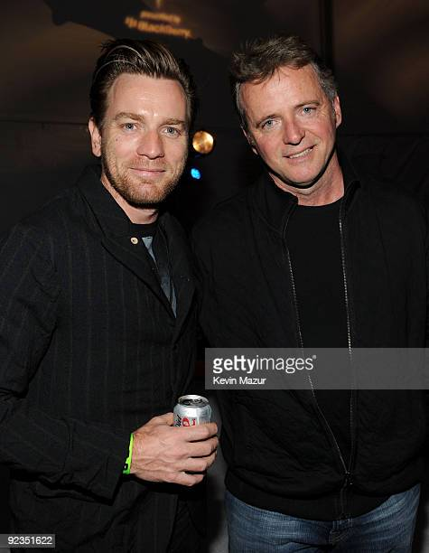 PASADENA CA OCTOBER 25 *Exclusive* Actors Ewan McGregor and Aidan Quinn backstage at the Rose Bowl during the U2 360 Tour on October 25 2009 in...