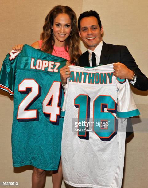 *Exclusive* Actress Jennifer Lopez and singer Marc Anthony attend the press conference to announce Marc Anthony's partnership with the Miami Dolphins...