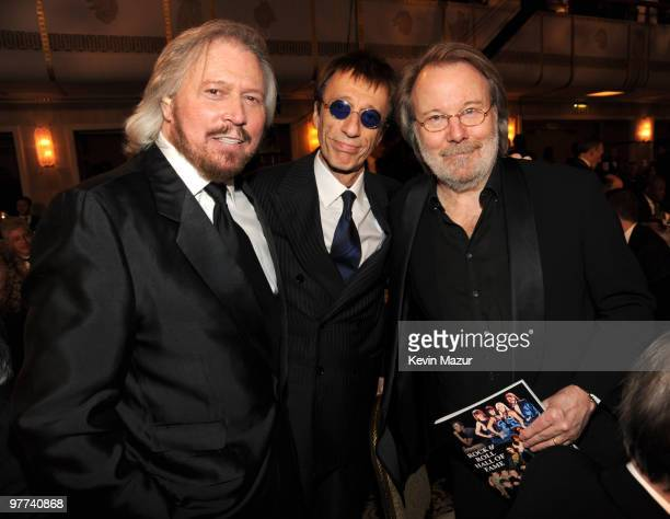 NEW YORK MARCH 15 *Exclusive* Barry Gibb Robin Gibb and Benny Andersson of ABBA attends the 25th Annual Rock and Roll Hall of Fame Induction Ceremony...