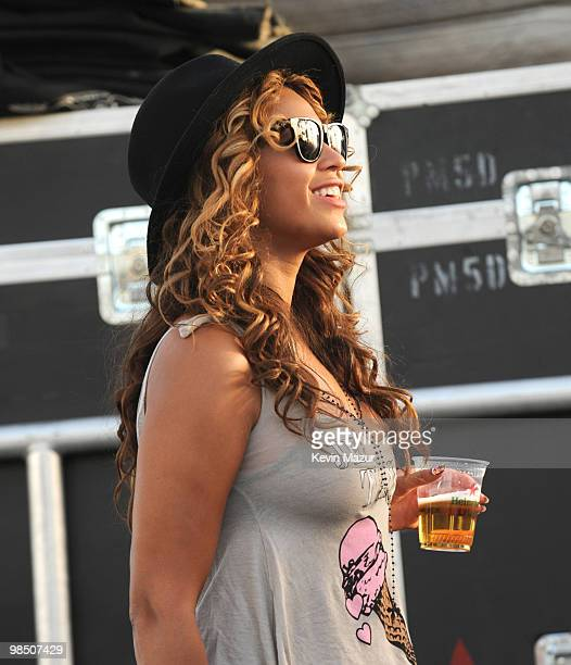 INDIO CA APRIL 16 *Exclusive* Beyonce backstage watching She and Him during Day 1 of the Coachella Valley Music Arts Festival 2010 held at the Empire...