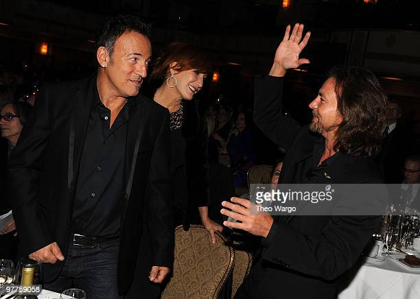 NEW YORK MARCH 15 *Exclusive* Bruce Springsteen Patti Scialfa and Eddie Vedder attend the 25th Annual Rock and Roll Hall of Fame Induction Ceremony...