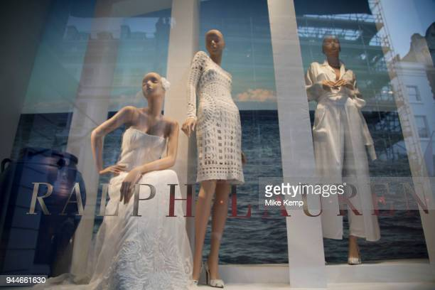 Exclusive clothes shop window of Ralph Lauren on New Bond Street in Mayfair London England United Kingdom Bond Street is one of the principal streets...