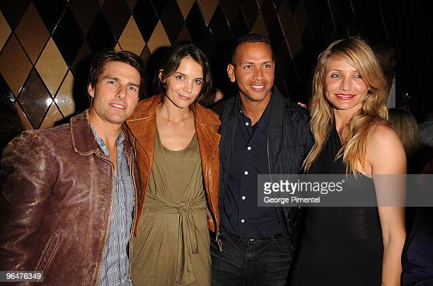 *Exclusive Coverage* Actor Tom Cruise Actress Katie Holmes MLB Player Alex Rodriguez and Actress Cameron Diaz attend the Super Bowl Party hosted by...