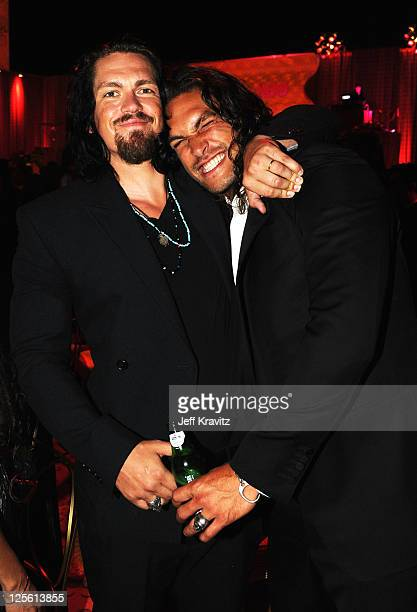 **Exclusive Coverage** Actors Steve Howey and Jason Momoa attend HBO's Official Emmy After Party at The Plaza at the Pacific Design Center on...