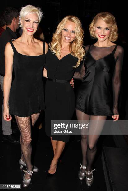 """Exclusive Coverage* Amra-Faye Wright as """"Velma Kelly"""", Pamela Anderson and Christie Brinkley as """"Roxie Hart"""" pose backstage at the hit musical..."""