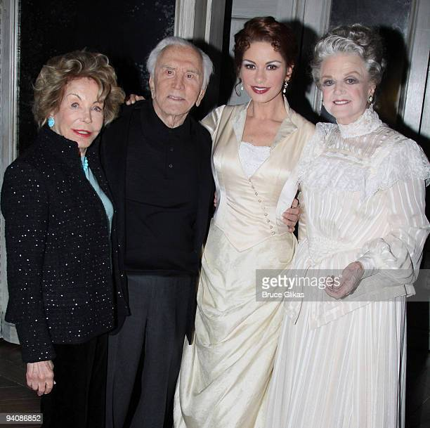 *Exclusive Coverage* Anne Douglas husband Kirk Douglas daughter inlaw Catherine Zeta Jones and Angela Lansbury pose backstage at A Little Night Music...