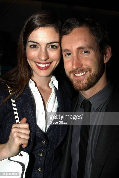 *Exclusive Coverage* Anne Hathaway and boyfriend Adam Shulman attend the 'Angels In America A Gay Fantasia On National Themes' Opening Night Party at...