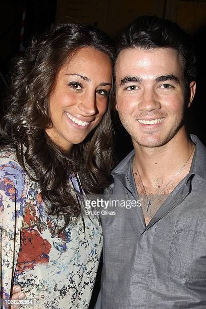 *Exclusive Coverage* Danielle Deleasa Jonas and husband Kevin Jonas pose backstage at The Addams Family On Broadway at the LuntFontanne Theatre on...