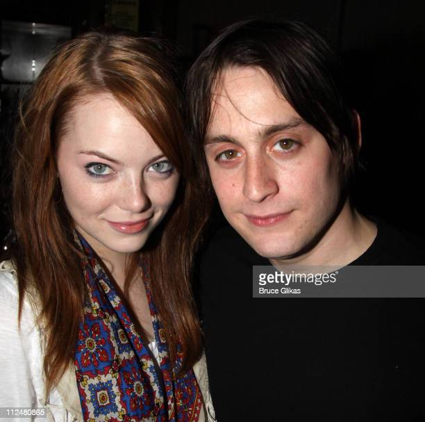 *Exclusive Coverage* Emma Stone and boyfriend Kieran Culkin attend the The Starry Messenger cast party at Montenapo Restaurant on November 16 2009 in...