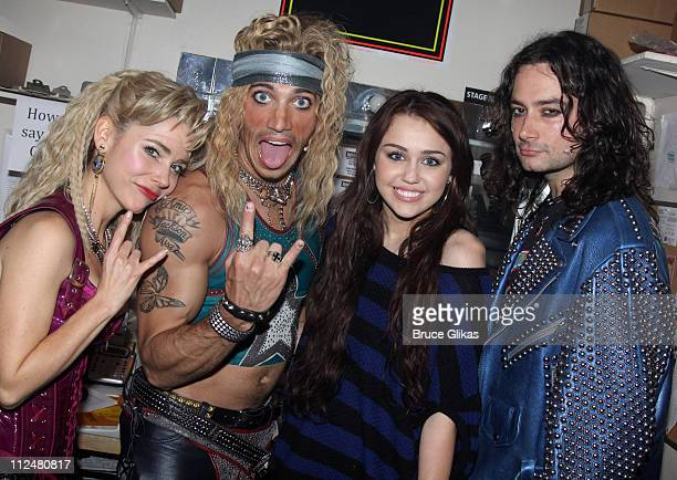 *Exclusive Coverage* Kerry Butler James Carpinello Miley Cyrus and Constantine Maroulis pose backstage at the hit rock musical 'Rock of Ages' on...