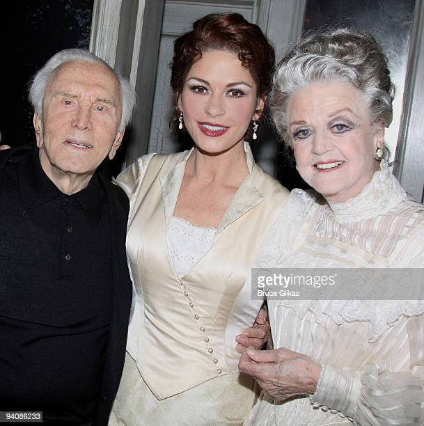 *Exclusive Coverage* Kirk Douglas daughter inlaw Catherine Zeta Jones and Angela Lansbury pose backstage at A Little Night Music on Broadway at The...