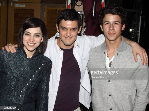 *Exclusive Coverage* Krysta Rodriguez as Wednesday Wesley Taylor and Nick Jonas pose backstage at The Addams Family On Broadway at the LuntFontanne...