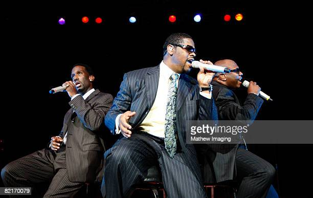 *Exclusive Coverage* Musicians of the group Boyz II Men perform at Six Flags Magic Mountain on August 3 2008 in Valencia California