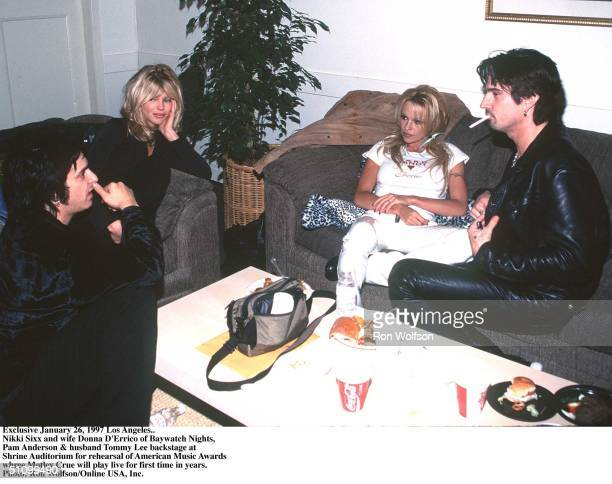 Exclusive February 26 1997 Nikki Sixx Of Motley Crue And Wife Donna D'Errico Of Baywatch Nights Pam Anderson And Husband Tommy Lee Also Of Motley...