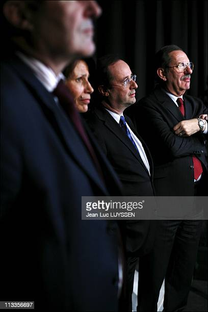 Exclusive Francois Hollande At The Meeting Of Segolene Royal In Limoges France On March 29 2007 Francois Hollande and Alain Rodet listening to the...