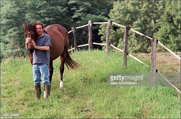 Exclusive French Right Wing Udf Party Leader Francois Bayrou On Holiday In Bordere Near Pau On August 20Th France With His Horses In His Own Field
