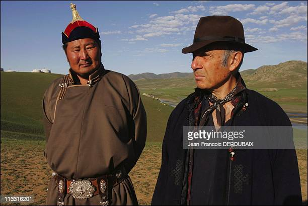Exclusive Guy Marchand And Adelina In Mongolia On August 12Th 2005 In Mongolia Here Our Friend Hokht Champion Of Mongole Fightinh Of Polo And Singer...