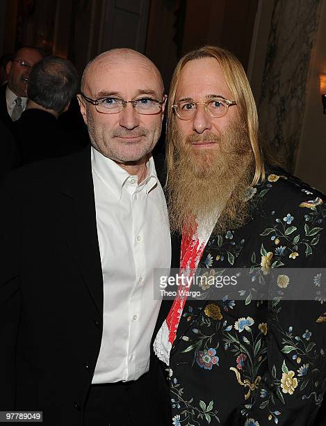 NEW YORK MARCH 15 *Exclusive* Inductee Phil Collins of Genesis and producer John David Kalodner attend the 25th Annual Rock and Roll Hall of Fame...
