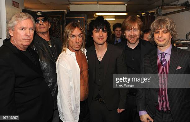 NEW YORK MARCH 15 *Exclusive* Inductees James Williamson Scott Asheton and Iggy Pop of The Stooges with Billie Joe Armstrong of Green Day and Trey...