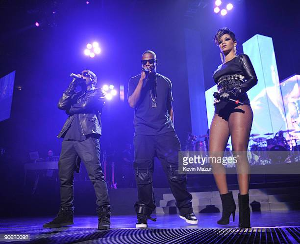 NEW YORK SEPTEMBER 11 *Exclusive* Kanye West JayZ and Rihanna perform at Madison Square Garden on September 11 2009 in New York City