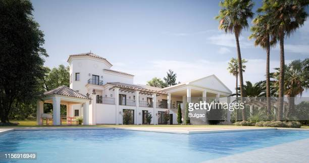 exclusive luxury villa with swimming pool - standing water stock pictures, royalty-free photos & images