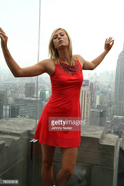 **Exclusive** Maria Sharapova poses on top of the Rockefeller Center after the press conference for 'Maria Sharapova and Nike Unveil New Performance...