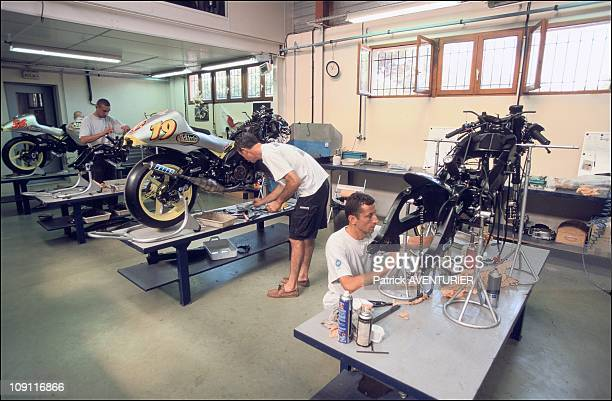 Exclusive Olivier Jacque Motorcycle Pilot On August 24Th 2000 In Bormes Les Mimosas France In The Team Tech 3 Workshops In BormesLesMimosas